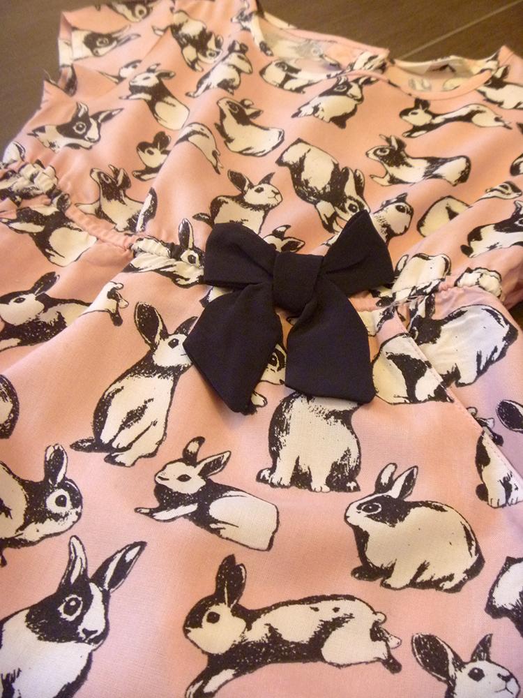 vestito outfit bimba momeme, fantasia rosa, coniglietti, fiocco