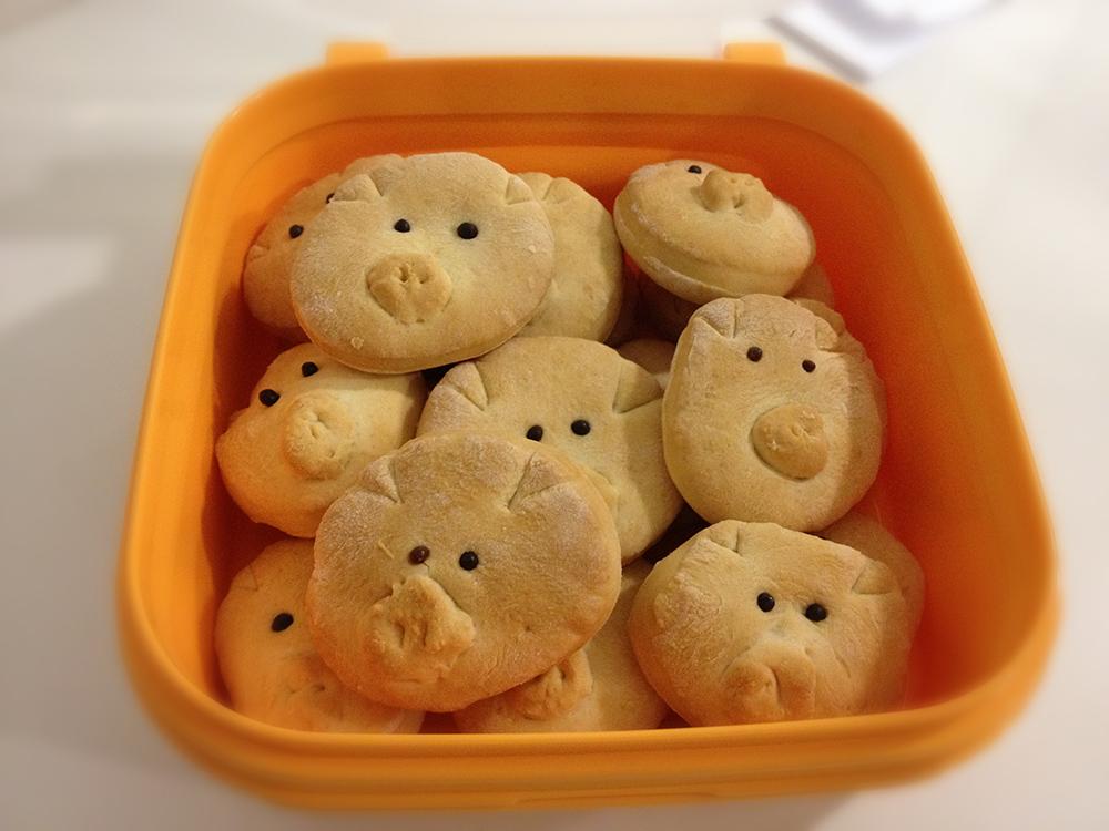 merenda salata di pane a forma di maialini, pig, momeme