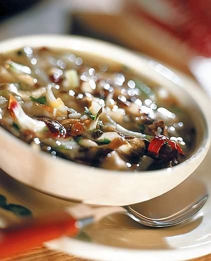 zuppa rustica di orzo, verdure, carote, cipolla, sedano, patate, speck, buonissima con il bimby