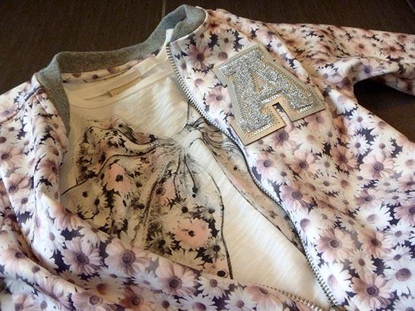 outfit bimba con bomber neoprene a fantasia fiori