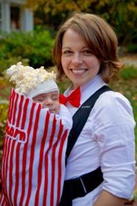 vestito di carnevale originale e handmade fatto a mano per mamma e bimbo nel saccetto dei pop corn