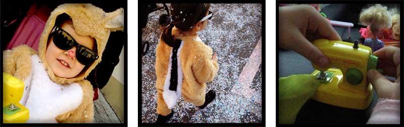 bambina a carnevale con vestito cip e ciop, occhiali da sole e coriandoli