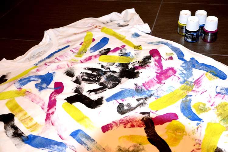 festa del papà idea t-shirt dipinta handmade con colori per tessuti momeme