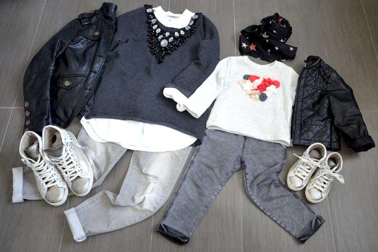 outfit mom and daughter jeans strappati felpa applicazioni giacca in pelle e sneakers uguali crime con borchie