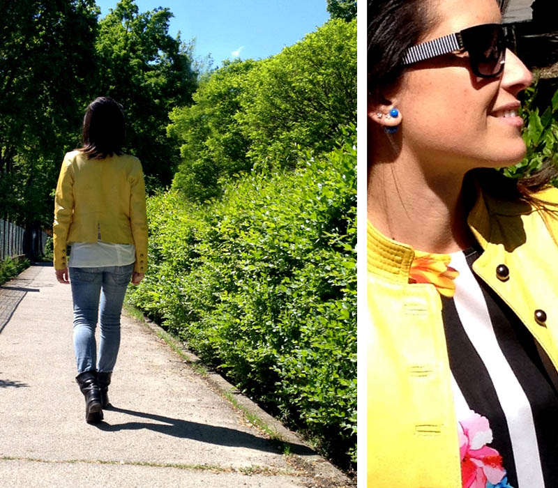 giacca_pelle_giallo_jeans_flower_righe_occhiali
