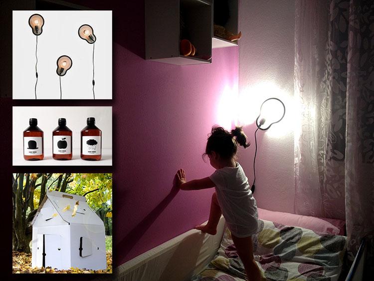 foto bimba lettino muro colorato a stick lamp lampada a stick muro droog design, casetta in cartone e acqua bobo choses