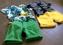 moda uomo look outfit con bermuda verde e giallo ocra e t-shirt fantasia tropical style zara
