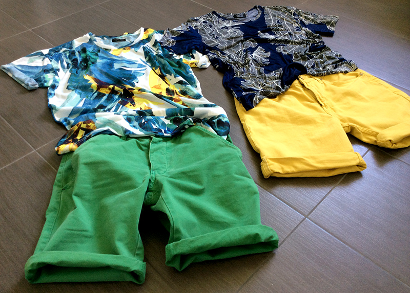 bermuda_jack_jones_uomo_verde_green_giallo_ocra_tshirt_fantasia_tropical_zara