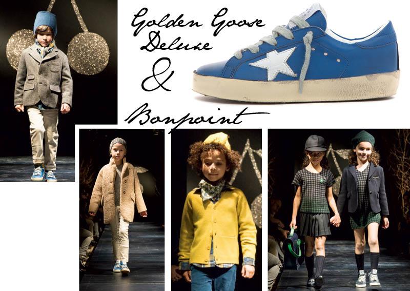 golden goose deluxe e bonpoint collaborazione capsule collection per sneakers con stella ai piedi di bambini bon ton