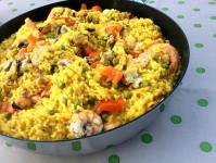 paella di pesce fatta in casa con il bimby con riso piselli gamberi code di gambero gamberoni seppie pesce spada cozze vongole