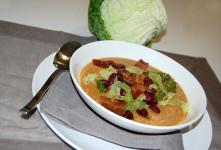zuppa di fagioli rossi con verza, pancetta e cipolla cucinata e preparata con il bimby da mom&me