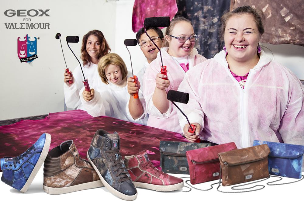 Geox for Valemour un progetto solidale e una nuova collezione con pellami completamente dipinti a mano da ragazzi affetti dalla sindrome di Down, borse e sneakers per uomo donna e bambino