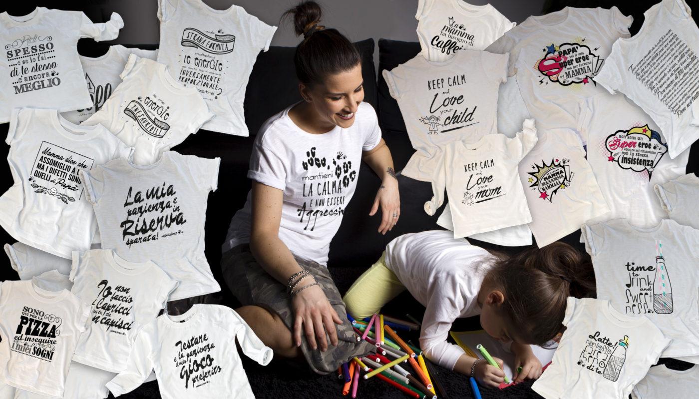 mamma e bimba disegno libero e creatività per la nuova linea di t-shirt coordinate e super fashion fatte a mano e made in italy