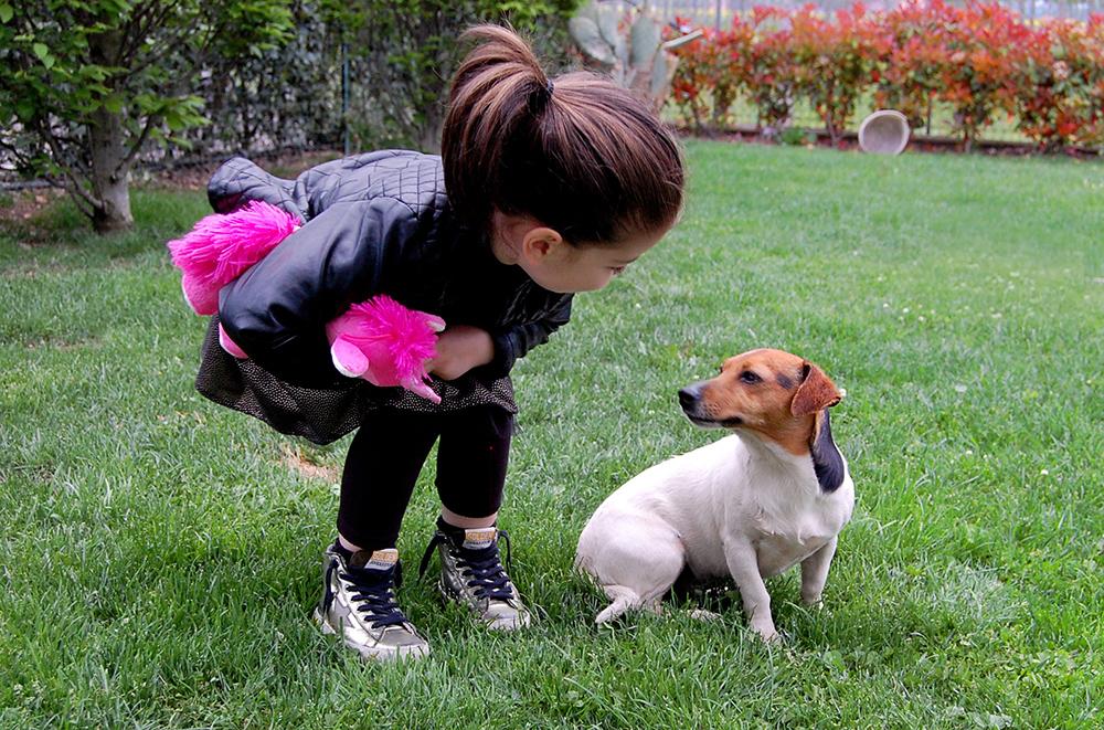 bambina e il suo cagnolino jack russel mostra il suo nuovo peluche ed il suo look nero ma primaverile con gonna fatta a mano e sneakers golden goose