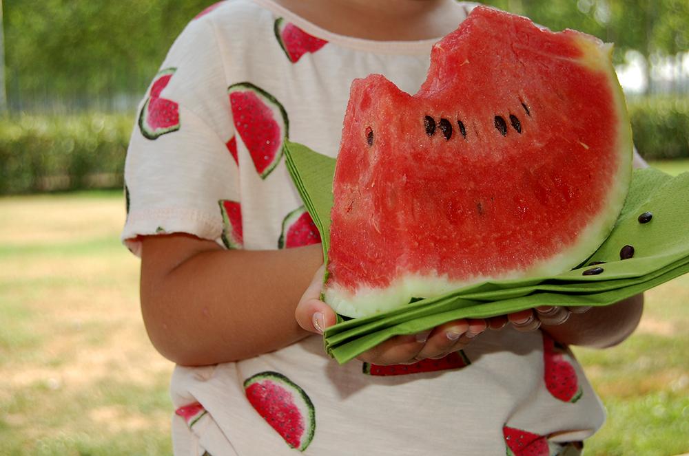 merenda bambini con frutta fresca e t-shirt con cocomero
