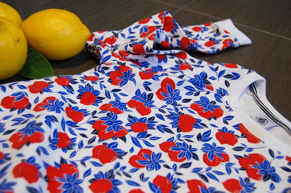 felpa limoni rossi petit bateau con accostamento limoni veri gialli