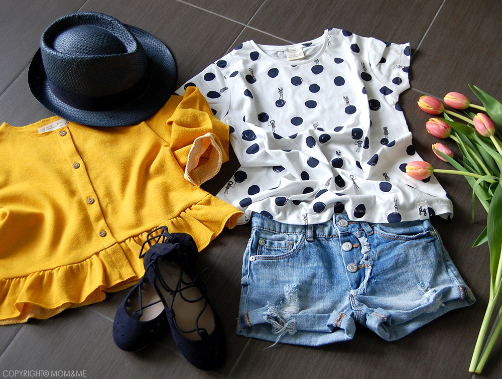 zara_kids_short_jeans_strappi_t-shirt_pois_cardigan_rouche_giallo_ballerine_cappello_panama_catya_momeme