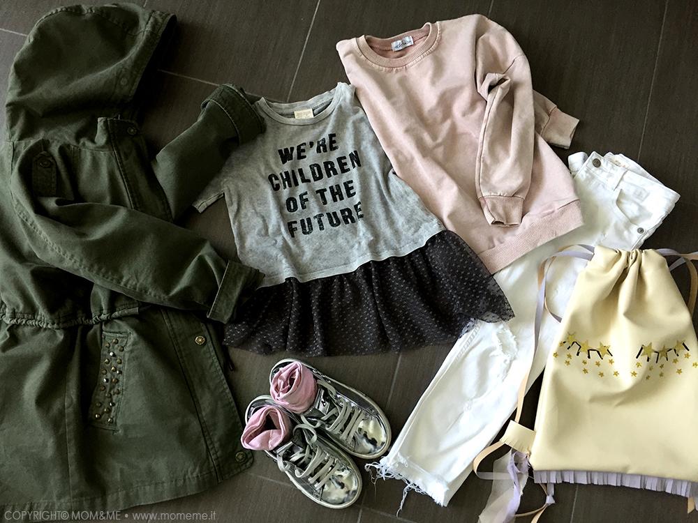 rock_bambina_primavera_look_moda_sneakers_argento_calze_glitter_calzedonia_parka_militare_jeans_bianco_sfrangiato_t-shirt_volant_tulle_felpa_vintage_momeme