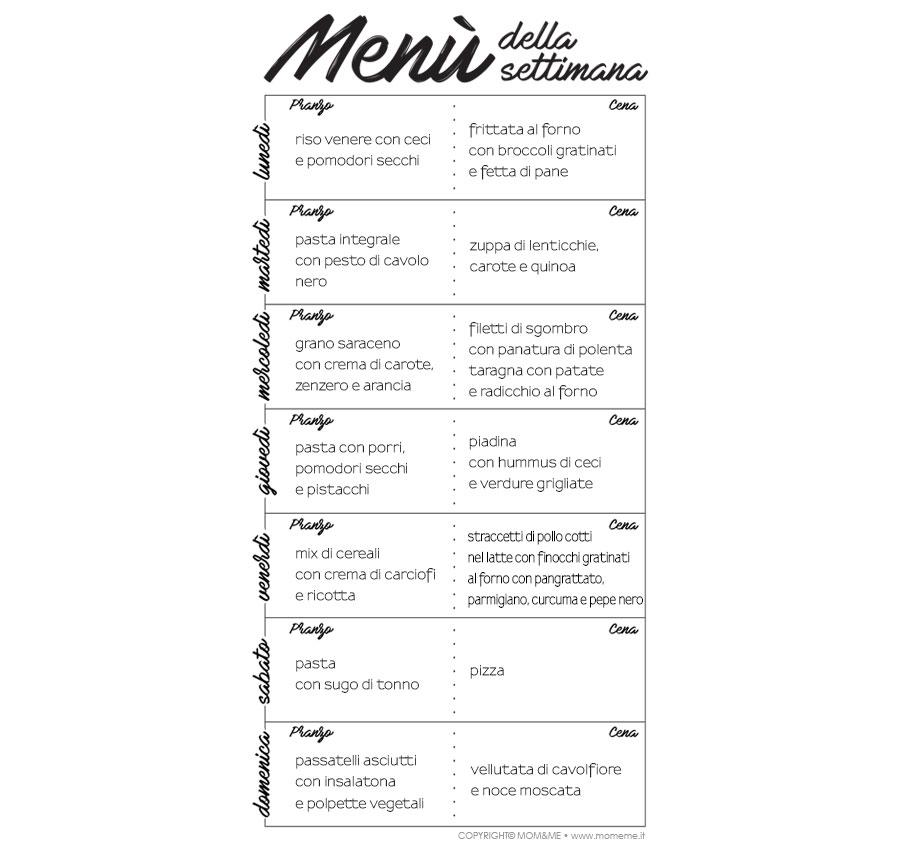 dieta settimanale facile da fare