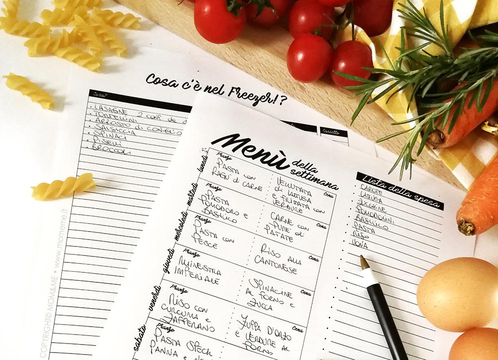 come organizzare un menu settimanale